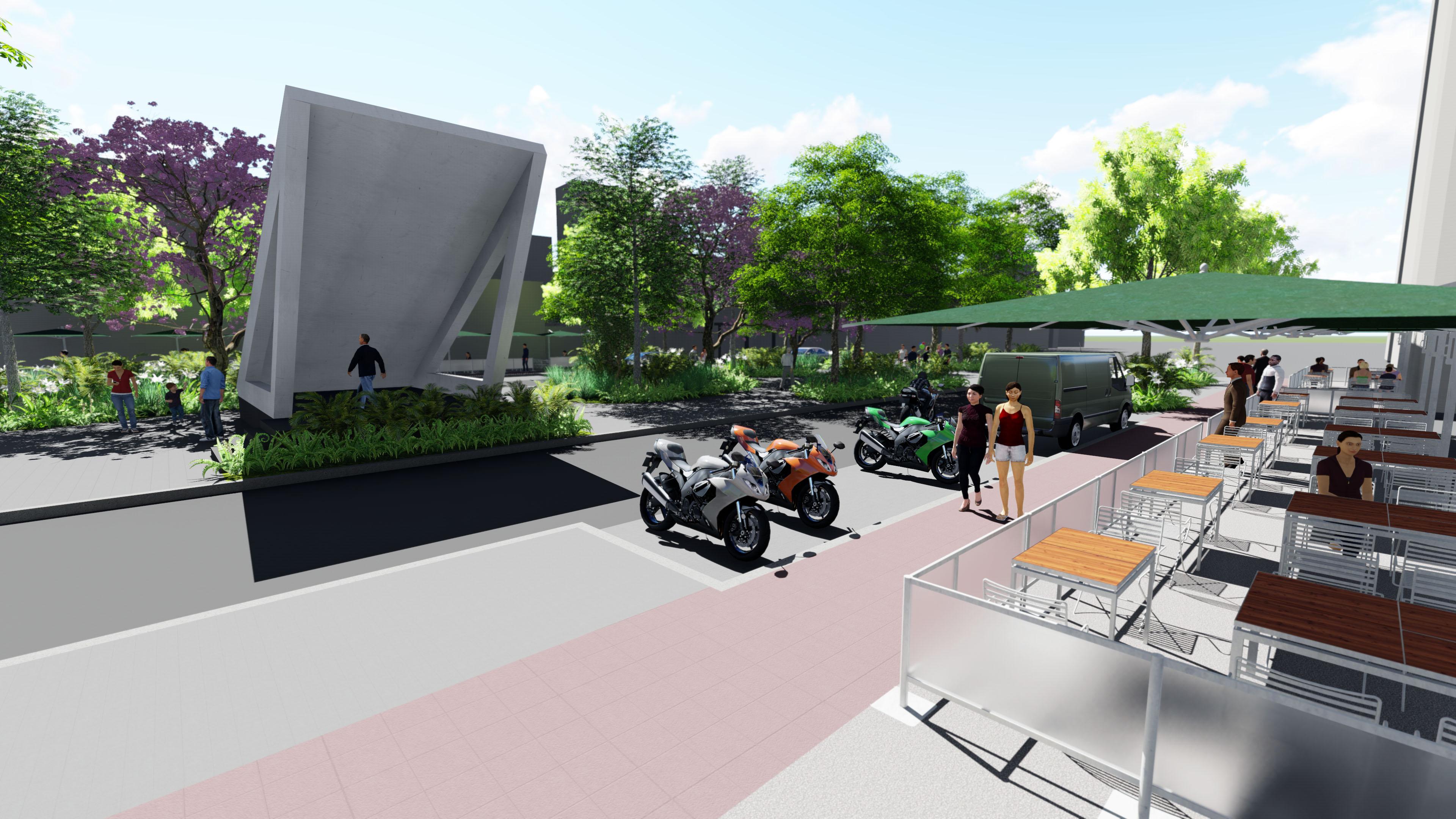 海安路人行道露天座位區模擬圖